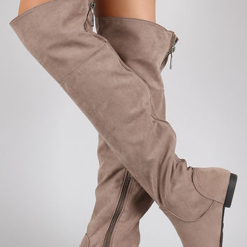 Bamboo Faux Suede Zipper Collar Knee High Boot