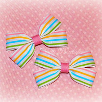 Pastel Striped Bow ~ Small Striped Bow ~ Striped Clippies ~ Pink & White Bow ~ Pastel Hair Bow ~ Baby Toddler Bow ~ Striped Hair Clip