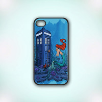 Doctor Who Meets Disney Tardis And Ariel Little Mermaid - Design Print for iPhone 4/4s Case or iPhone 5 Case - Black or White