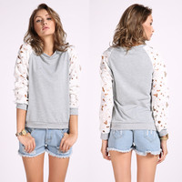 Round Neck Lace Floral Sleeves Sweatshirts
