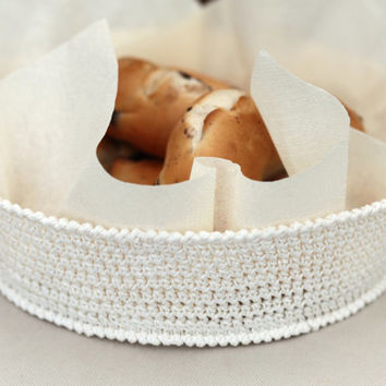 Bread Basket, white basket, crochet basket, breakfast basket