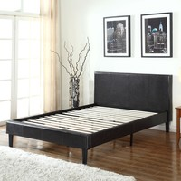Full Size Upholstered Faux Leather Platform Bed With Headboard In Dark Brown Espresso