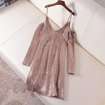 Sexy Spaghetti Strap Sequin Dress Women Short Slip Vestidos 2017 Summer Long Sleeve Robe Femme Backless Club Party Dresses C61
