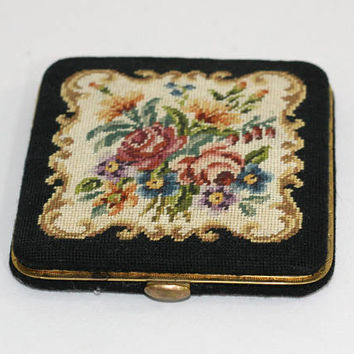 "Vintage Needlepoint Compact | Ladies Powder Compact | Vintage Vanity | Black Floral Compact | Needlepoint Rose Compact | 3.5"" Square"