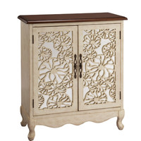 Lace Panel Ivory/Brown Two Door Cabinet