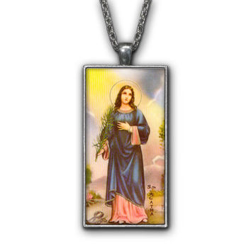 Saint Agatha Painting Religious Symbol Pendant Necklace Jewelry