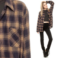 Checkered Shirt 90s Flannel Grunge Oversized Brown Black Tan Plaid Long Sleeve Button Up Slouchy Hipster 1990s Vintage Extra Small Medium XS