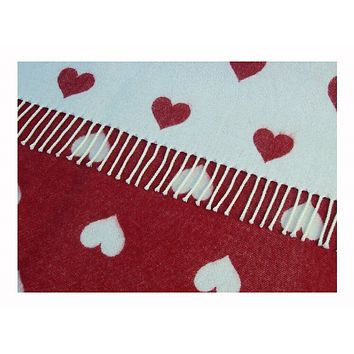Merino Lambswool Reversible Heart Blanket