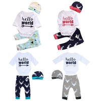 3PCS Newborn Baby Girl Boy Clothes Hello World Letter Printed Cartoon Romper Tops +Deer long Pants + Cartoon Hat Outfits Set