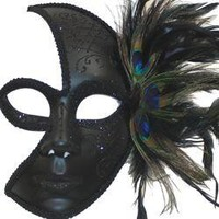 Half Moon Black Paper Mache Masquerade Mask with Peacock Feathers