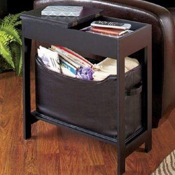 Black Side Table Accent End Hallway Lamp Night Stand Slim Storage Hidden Drawer