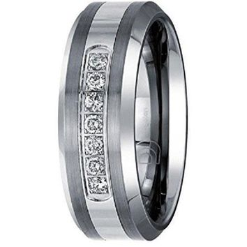 0.20 ctw 8mm Tungsten Carbide Diamond Wedding Band