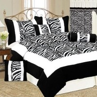 7 Piece Full/Double Size Micro Fur Safari Zebra Print Bed-In-A-Bag Black & White Comforter Set, Bedding