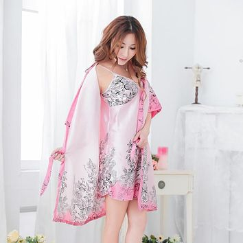Women Sexy Silk Robe Babydoll Sleepwear Lingerie Nightdress Pajamas 3Pcs Sets