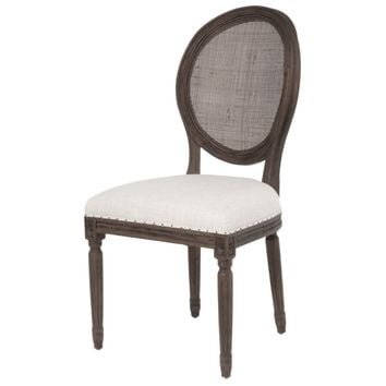 Oliver Dining Chair Bisque French Linen Rustic Java (Set of 2)