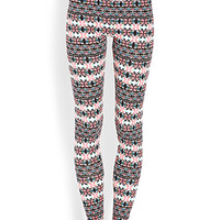 FOREVER 21 Day Trip Tribal Print Leggings Cream/Pink