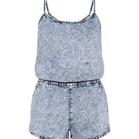 Blue Acid Wash Denim Playsuit