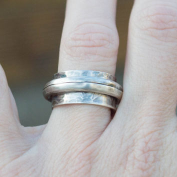 Sterling silver band ring, Artisan silver ring, Silversmith ring, Metalwork jewelry, Mens silver ring, Womens silver ring,Handmade ring