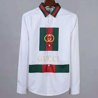 GUCCI 2018 new trend slim long sleeve double G printing men's shirt white