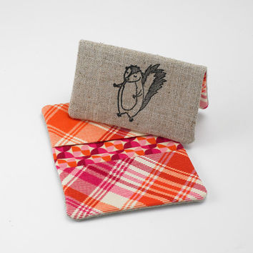 Business Card Case, Credit Card Holder, Fabric Gift Card Wallet in Orange and Purple Plaid