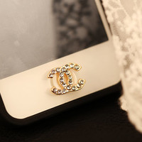Crystal Rhinestone Home Button Sticker, Apple iPhone iPad iPod