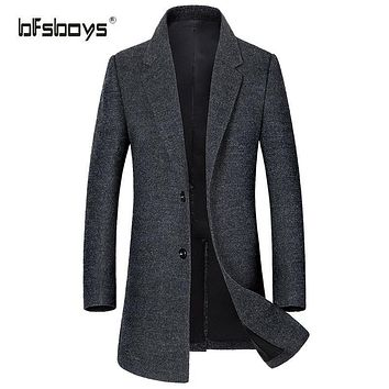 BFSBOYS Autumn Winter New Fashion Clothing Wool Jacket Men Single Breasted Design Stand Collar Mens Pea Coat High-grade Coat Men