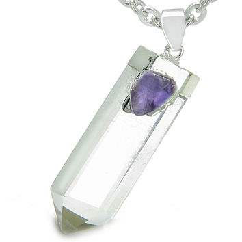Amulet Crystal Point Wand Rock Quartz Amethyst Healing Pendant 22 Inch Necklace