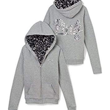 Victoria's Secret Pink Full Zip Leopard Fur Bling Hoodie Gray