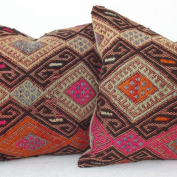 SET ORGANIC Dyed Turkish Kilim Pillow, Pink Brown Orange  Decorative Kilim Pillow, Handembroidery Cicim Throw Pillow 15' x 15' INCH