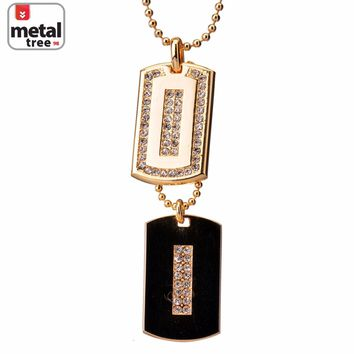 "Jewelry Kay style Men's 14k Gold Plated CZ Iced Out Double Dog Tag Pendant 27"" Ball Chain Necklace"