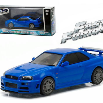 """Brian's 2002 Nissan Skyline GT-R Blue """"Fast and Furious"""" Movie (2009) 1-43 Diecast Model Car by Greenlight"""