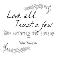 SALE Shakespeare Quote - Digital Download - Quote Print, Quotes Wall Art, Printable Graphics - Love All Trust A Few Do Wrong To None