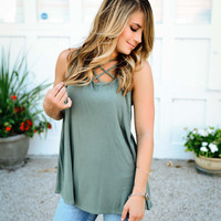So Easy To Love (Olive Strappy Tank)