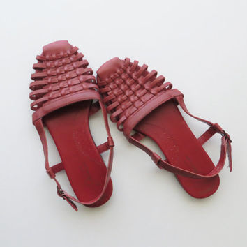 """90s Red Sling Back Woven Huaraches Sandals """"Jessica"""" Women's US Size 8 or Euro 38.5"""
