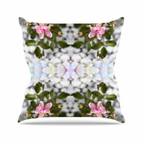 "Pia Schneider ""Roses l"" Pink Green Outdoor Throw Pillow"