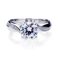 Sterling Silver Round Brilliant Cut 2 Carat Cubic Zirconia Engagement Ring ( Size 5 to 9)