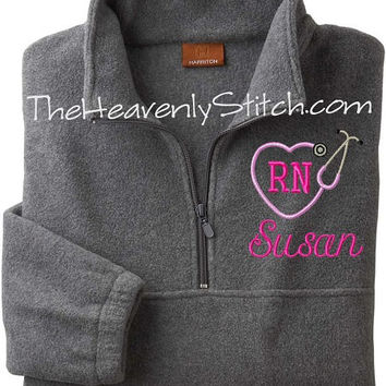 Nurse Heart Stethoscope Monogrammed Fleece Jacket. Custom Fleece Pullover Jacket. Winter. Adult Size Personalized Jackets. Extended Sizes