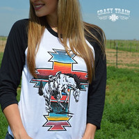 Serape War Paint Baseball Tee