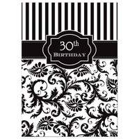 30th Birthday Invitation | Black and White Stripes | Floral Damask