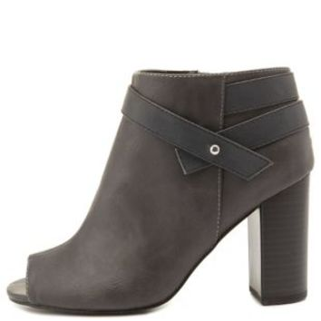 Gray Belted Chunky Heel Peep Toe Booties by Charlotte Russe
