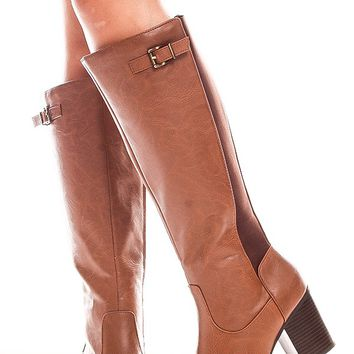 COGNAC KNEE HIGH FAUX LEATHER HIGH HEEL BOOT