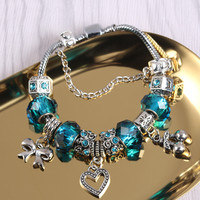 Bow Heart-shaped Rhinestone Pendant Bracelet Beaded Chain Glass Beads Bracelet