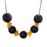 Black lava with honey amber necklace