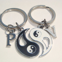 Ying Yang Personalised Keyrings - Best Friends Keychains - Personalized Bag Charms - His & Hers Jewelry - Love Keyring Set - Couples Set