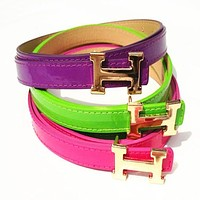 Hermes Women Fashion Smooth Buckle Belt Leather Belt