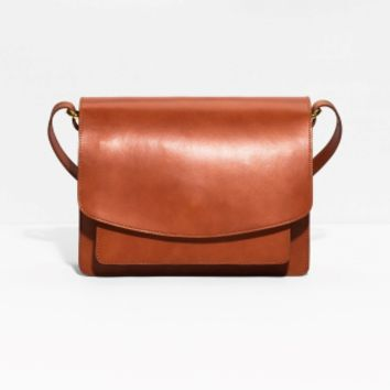 & Other Stories | Saddle Stitch Leather Shoulder Bag | Orange Yellowish Dark