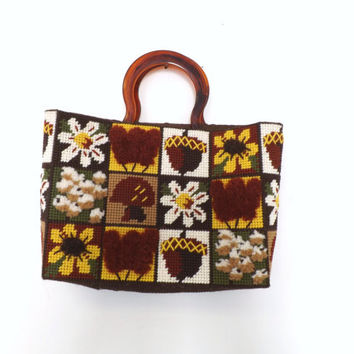 Vintage 1970s Retro Cross Stitch Tote Embroidered Woven Carpet Bag Purse Boho Woodland Rustic Bag Festival Satchel Kitsch Floral Indie Urban