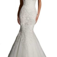Zrdress Long White Lace Mermaid Formal Wedding Dresses Bridal Gowns 2015