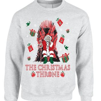 Adult Sweatshirt The Christmas Throne Santa Best Ugly Xmas Top