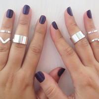 Stacking silver rings - Set of 8 silver rings, Knuckle Ring, Custom silver rings, Cuff ring, Chevron ring, Silver jewelry, Unique gifts